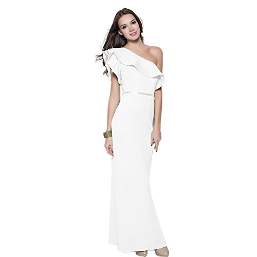 Dress Women's Long White cotyledon Shoulder Party Fit Solid Dresses One Slim 400qd