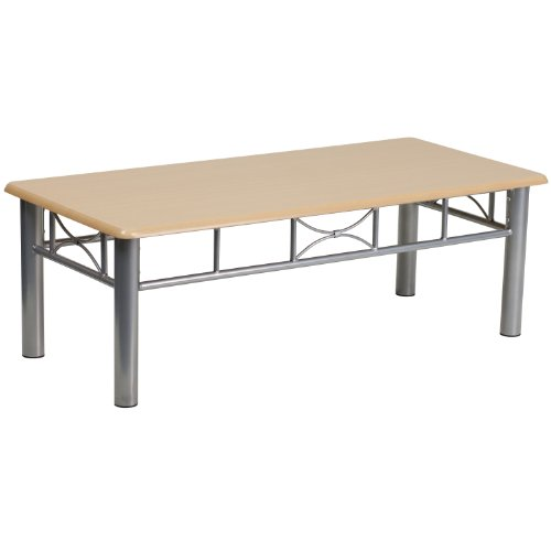 Cheap Flash Furniture Natural Laminate Coffee Table with Silver Steel Frame