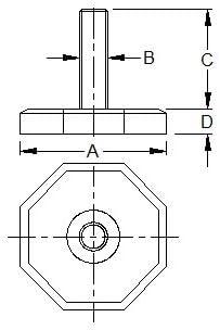 en caoutchouc vis en pieds base en caoutchouc Vital Parts Lot de 4/pieds en caoutchouc octogonaux M8/x 38/mm pied r/églable,base 8 faces pieds filet/és