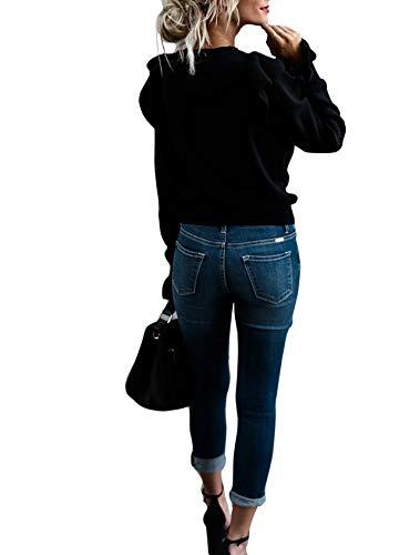 Printemps t Manches Chandail Shirts Automne Pullover Sweater Haut Rond Fashion Tops Casual de et T Longues Lotus Col Sweatshirts Pulls C Feuille Femmes Jumper Noir rZYrWq