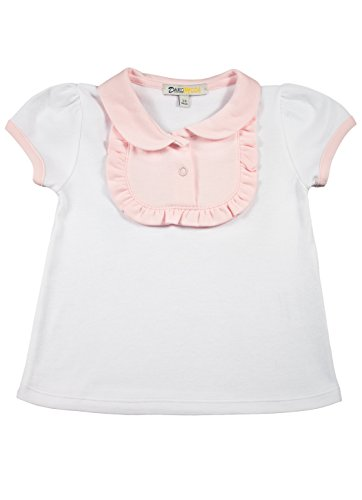 - Baby Girls' Pima Cotton White Tee - Ruffled Bib Top with Pink Contrasts 18-24