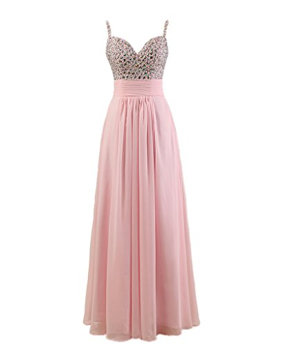 Fanmu Womens Halter Chiffon Crystal Prom Evening Dresses Party Gowns Size 6 UK Pink