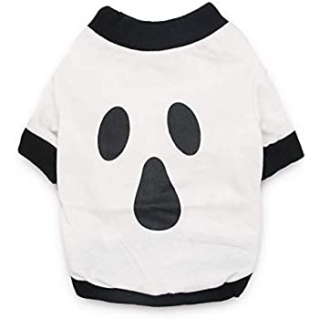 d05af5e6937a DroolingDog Dog Halloween Shirt Ghost Costume Pet Tshirt Dog Tees for Small  Dogs, Medium, White