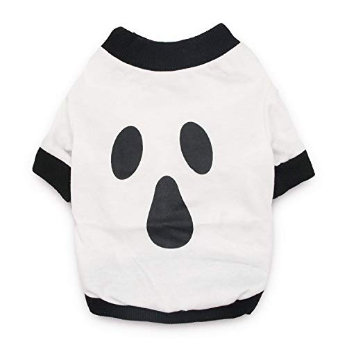DroolingDog Dog Halloween Shirt Ghost Costume Pet Tshirt Dog Tees for Small Dogs, Large, White