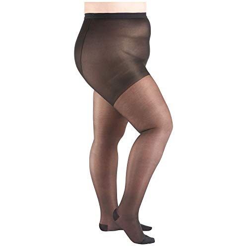 Moderate Support Pantyhose - Women's Moderate Compression Pantyhose - Support Plus - Black - Queen Plus