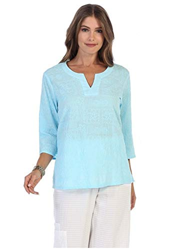 Focus Fashion Voile Embroidery Tunic-C630 (Sky Blue, ()