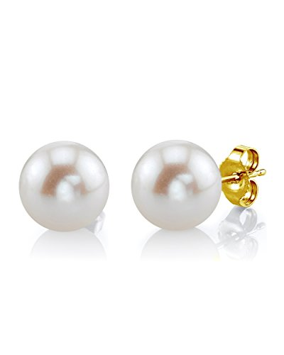- THE PEARL SOURCE 14K Gold 10-11mm AAAA Quality Round White Freshwater Cultured Pearl Stud Earrings for Women