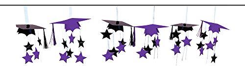Amscan School Colors 3-D Foil Garland, Party Décor, 12ft, Purple/Black (3d Cap Black)