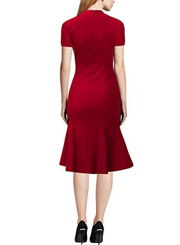 Dress Womens Evening Prom Pencil Short V Slim KAXIDY Dress Vintage Dresses Neck Sleeve Red znTdRx8