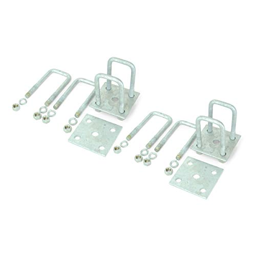 (Sturdy Built Tandem Axle Galvanized U Bolt Kit for mounting Boat Trailer Leaf Springs for 2x2 axle - 4 13/16