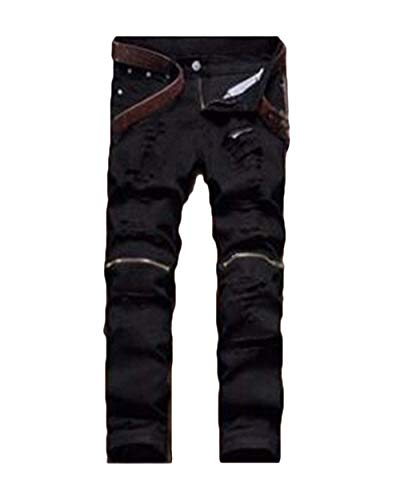 Leisure Slim Tinta Denim Uomo Long T Holes Stile Gamba Nero Jeans Unita Fit Pantaloni Ripped Da Semplice Retro Pants 6q5wxZv8