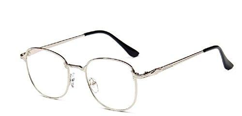 mode Embryform miroir simple m¡§?tal conception vintage lunettes de montures de lunettes miroir cadre tee ¡§?tudiant Nickel blanc