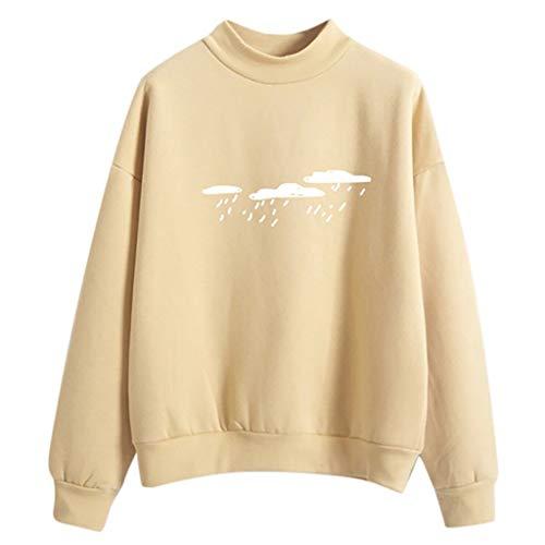 Women Fashion Long Sleeve Cloud Rain Printed Sweatshirt Blouse Tops T -Shirt