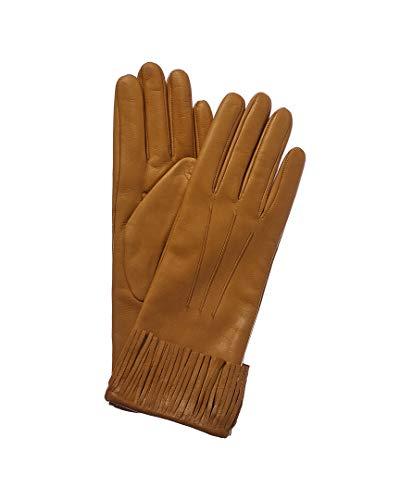 Portolano Womens Women's Golden Sunflower Cashmere-Lined Leather Gloves, 6.5