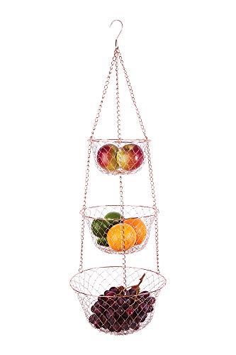 - Fox Run 5211 3-Tier Copper Hanging Fruit Baskets, 32-Inches,