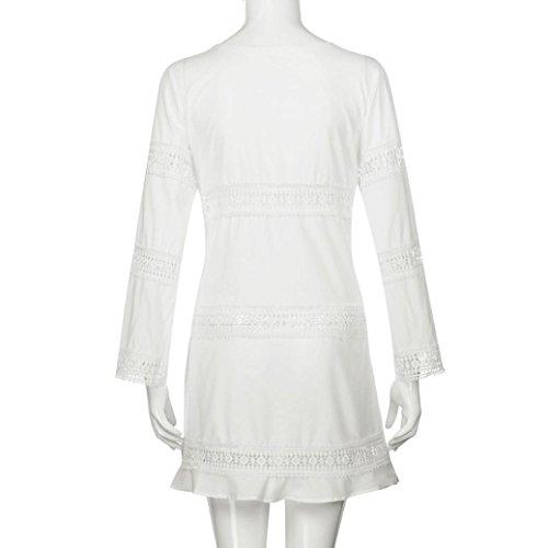 Mini Faldas para Mujer - Rcool - Manga 3/4 de Suelto Encaje de Boho Beach Corto Mini Vestido Blanco