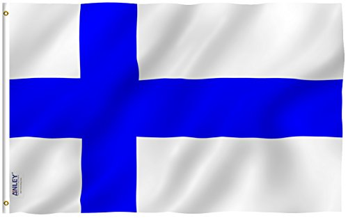 Anley Fly Breeze 3x5 Foot Finland Flag - Vivid Color and UV Fade Resistant - Canvas Header and Double Stitched - Finnish Finn National Flags Polyester with Brass Grommets 3 X 5 Ft