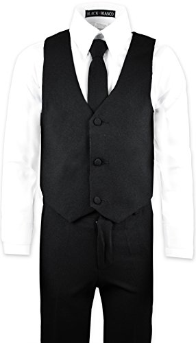 8b54c33251 Black N Bianco Boys' Formal Black Suit with Shirt and Vest - Buy ...