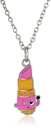Shopkins Girls' Silver Plated Enamel Lippy Lips on Chain Pendant Necklace, 16