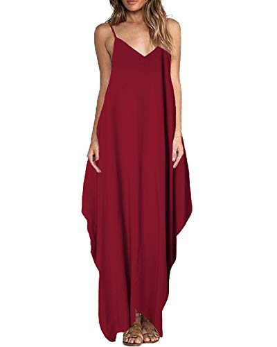 ZANZEA Women's Maxi Dress Boho Spaghetti Strap Beach Long Dress Solid V Neck Sundress Wine Red XL