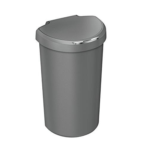 simplehuman 40L Semi-Round Sensor Can, Touchless Automatic Garbage Bin, Grey Plastic, 40 L/10.5 Gal