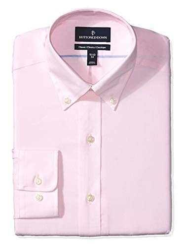 BUTTONED DOWN Men's Classic Fit Button Collar Solid Non-Iron Dress Shirt, Light Pink/no Pockets, 16.5