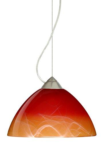 Besa Lighting 1KX-4201SL-LED-SN 1X6W GU24 Tessa LED Pendant with Solare Glass, Satin Nickel Finish