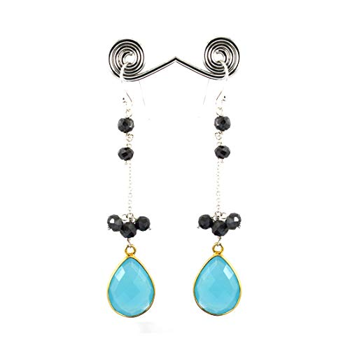 skyjewels Chalcedony Gemstone with Black Diamond Beads Fancy Silver Earrings ()