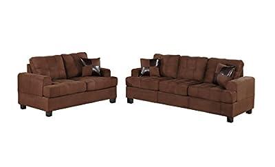 Poundex Bobkona Arcadia Microfabric 2-Piece Sofa and Loveseat Set, Chocolate