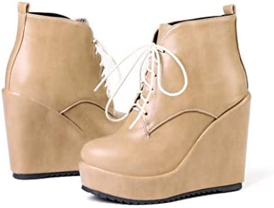 Women Lace Up Wedge Heel Platform Ankle Flatform Boots Punk Round Toe Shoes Y405
