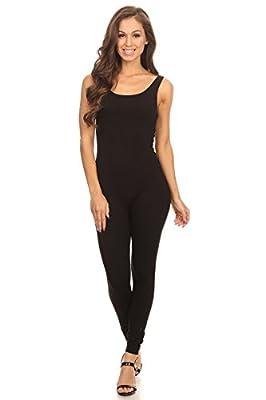 Women's Scoop Neck Sleeveless Stretch Cotton Jersey Unitard Bodysuits(&Plus)