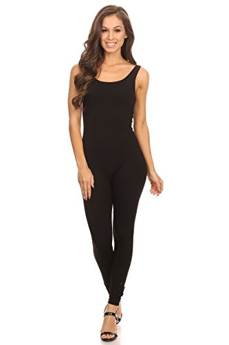 Women's Scoop Neck Sleeveless Stretch Cotton Jersey Unitard Bodysuits Black Medium -