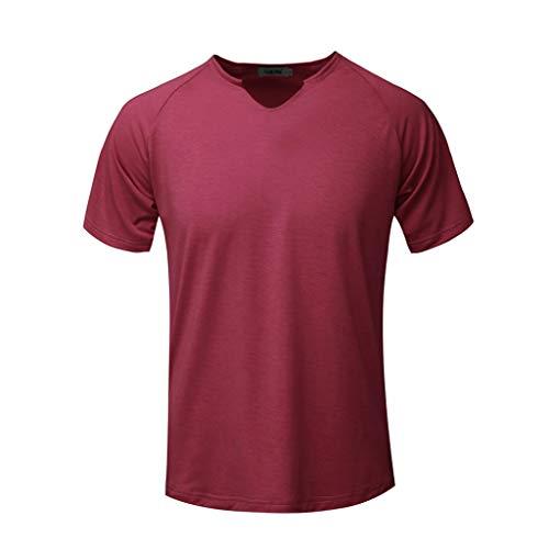 Fashion Men's Short Sleeve Solid Comfortable Casual Slim T-Shirt Sport Tops Wine
