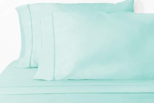 Grace Premium Microfiber Sheet Set - Super Soft, Deep Pocket, Embellished with Hypoallergenic, Wrinkle Resistant and Fade Resistant Brushed Microfiber – 4 Piece Set (Full, Soft Aqua)