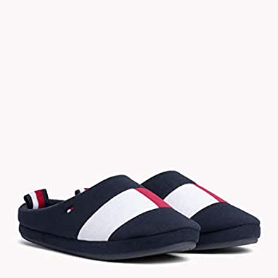 TOMMY HILFIGER Men's Colour-Blocked Cotton Slippers Sneakers, Midnight, 41/42 EU