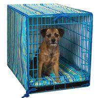 ProSelect Crate Pet Cotton Cover and Polyfilled Bed 2-Piece Set, Medium, Blue Stripe