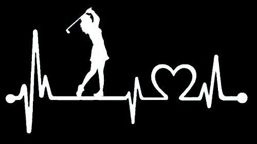 Bluegrass Decals K1080 Lady Golfer Ladies Golf Heartbeat Lifeline Decal Sticker
