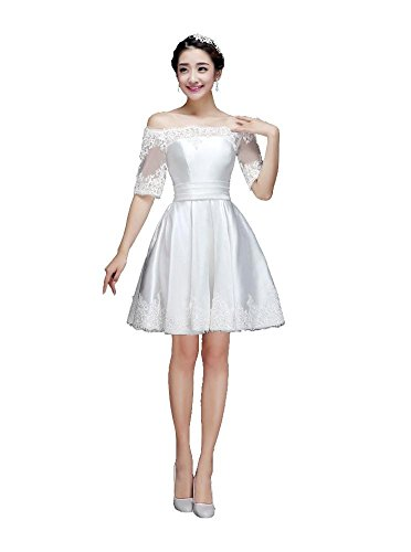 Beauty-Emily La mitad de la manga del vestido de partido del cuello del barco mini-Line Blanco