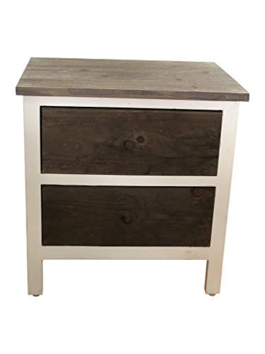 AVIGNON HOME Rustic Farmhouse Nightstand Bedside Table Wood End Table Night Stand with Drawer and Shelf White