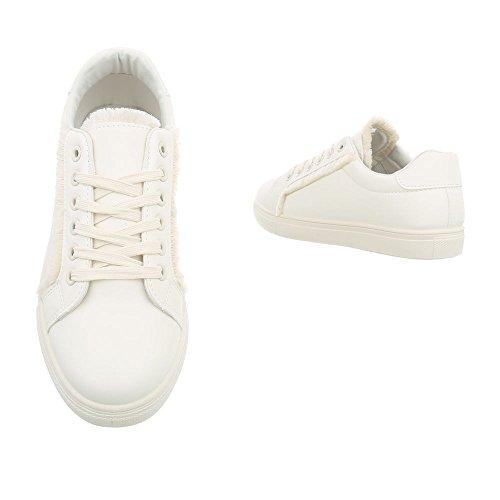 Ital-Design Sneakers Low Damenschuhe Schnürsenkel Freizeitschuhe Weiß G-91