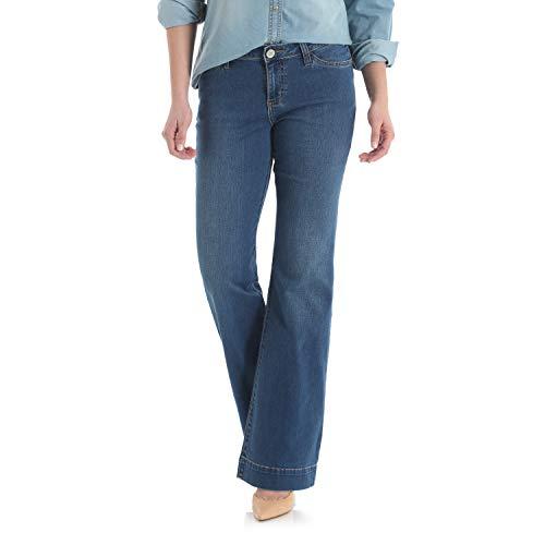 Jeans Wide Rise Mid Leg (Wrangler Women's Retro Mae Mid Rise Stretch Wide Leg Jean, Mid Blue, 15X32)