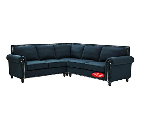 Sectional Sofa Set Dorris Fabric Studded Nail Heads L-Shaped (3-Piece, Blue) 2019 Updated Model by Bliss Brands (Best Sectional Brands 2019)