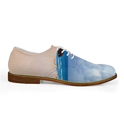 Ocean Decor Stylish Leather Shoes,Boat Crash by Exotic Tropical Beach in African Shore Dream Atlantic Ocean Photo for Men,US 8