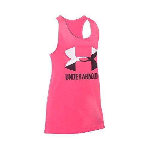Under Armour Girls' Big Logo Slash Tank, Penta Pink/White, Youth Medium
