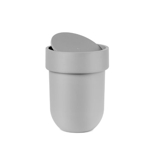 - Umbra Touch Waste Can, Small Trash Can with Lid, Swing Lid Waste Basket, Garbage Can with Lid for Washroom/Bathroom, Soft Touch, Matte Gray Finish