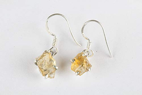 (925 Sterling Silver Beautiful Citrine Cut Rough Earrings Gemstone Jewelry Christmas Gift For Her)