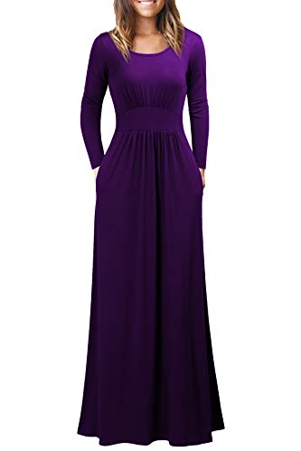 WOOSEA Women's Long Sleeve Loose Plain Maxi Dresses Casual Long Dresses with Pockets