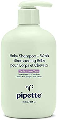Pipette New Formula Baby Shampoo + Wash, 100% Plant-Derived Squalane and Free of Synthetic Fragrances, Tear-Fr