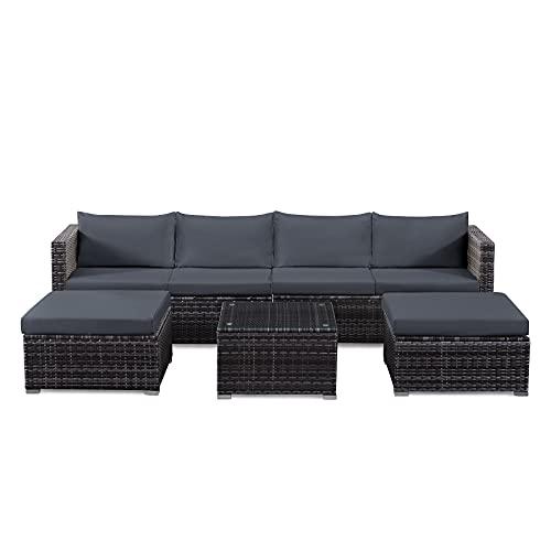 tribesigns 7 piece rattan corner sofa set with cushions grey