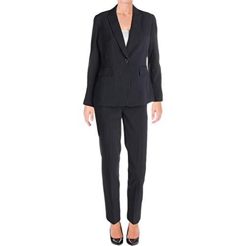 (Tahari ASL Womens Petites Pinstriped Professional Pant Suit Navy 4P)